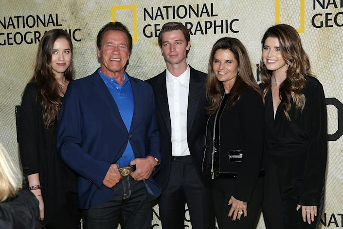 LOS ANGELES, CALIFORNIA - OCTOBER 30: (LR) Christina Schwarzenegger, Arnold Schwarzenegger, Patrick Schwarzenegger, Maria Shriver and Katherine Schwarzenegger attend the premiere of National Geographic's Long Way Home;  at Royce Hall on October 30, 2017 in Los Angeles California.  (Photo: Phillip Faraone / Getty Images)