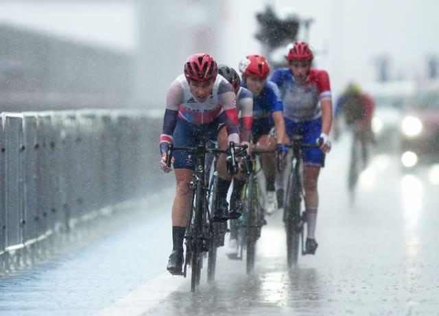 Great Britain's Dame Sarah Storey competes in the women's C1-3 road race at the Fuji International Speedway during day nine of the Tokyo 2020 Paralympic Games in Japan