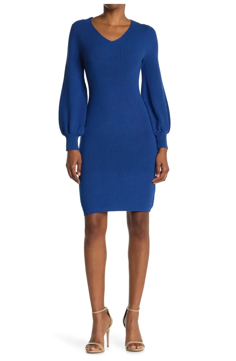 """<h2>Nina Leonard V-Neck Balloon Sleeve Sweater Dress</h2><br><a href=""""https://www.refinery29.com/en-us/best-puff-sleeve-dresses"""" rel=""""nofollow noopener"""" target=""""_blank"""" data-ylk=""""slk:Puff sleeves"""" class=""""link rapid-noclick-resp"""">Puff sleeves</a> may have been all the rage this summer, but that doesn't mean you have to retire them for fall. This sweater dress certainly makes the case for keeping things voluminous with seasonal fabrics and colors. <br><br><strong>The Hype: </strong>4.5 out of 5 stars and 49 reviews on <a href=""""https://www.nordstromrack.com/s/nina-leonard-v-neck-balloon-sleeve-sweater-dress/5988916"""" rel=""""nofollow noopener"""" target=""""_blank"""" data-ylk=""""slk:NordstromRack.com"""" class=""""link rapid-noclick-resp"""">NordstromRack.com</a><br><br><strong>What They're Saying: </strong>""""Very flattering on my curvy figure. The color is bright and cheery. This will be a winter staple!"""" — truecurtis, NordstromRack.com reviewer<br><br><strong>Nina Leonard</strong> V-Neck Balloon Sleeve Sweater Dress, $, available at <a href=""""https://go.skimresources.com/?id=30283X879131&url=https%3A%2F%2Fwww.nordstromrack.com%2Fs%2Fnina-leonard-v-neck-balloon-sleeve-sweater-dress%2F5988916"""" rel=""""nofollow noopener"""" target=""""_blank"""" data-ylk=""""slk:Nordstrom Rack"""" class=""""link rapid-noclick-resp"""">Nordstrom Rack</a>"""