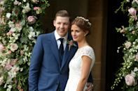 FROME, UNITED KINGDOM - SEPTEMBER 10: Professor Green and Millie Mackintosh pose on their wedding day at Babington House on September 10, 2013 in Frome, England. (Photo by Julian Parker/UK Press via Getty Images)