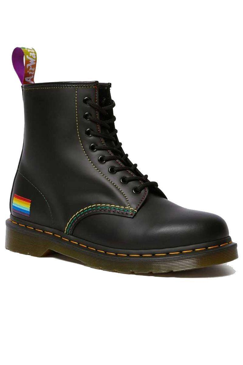 """<p><strong>Dr. Martens</strong></p><p>drmartens.com</p><p><strong>$150.00</strong></p><p><a href=""""https://fave.co/2YlZ12s"""" rel=""""nofollow noopener"""" target=""""_blank"""" data-ylk=""""slk:Shop Now"""" class=""""link rapid-noclick-resp"""">Shop Now</a></p><p>Along with manufacturing this Pride-inspired boot, the English footwear brand has pledged $25,000 to The Trevor Project. </p>"""