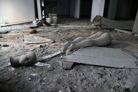 Parts of a mannequin are seen after an Israeli air strike on a building, in Gaza City November 13, 2018. REUTERS/Suhaib Salem