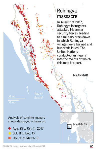 A United Nations fact-finding mission says sexual violence carried out by Myanmar's security forces against the country's Muslim Rohingya minority was so widespread and severe that it demonstrates intent to commit genocide.;
