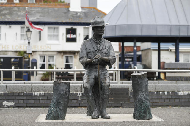 A statue of the founder of the Scout movement Robert Baden-Powell on Poole Quay in Dorset, England ahead of its expected removal. (PA)