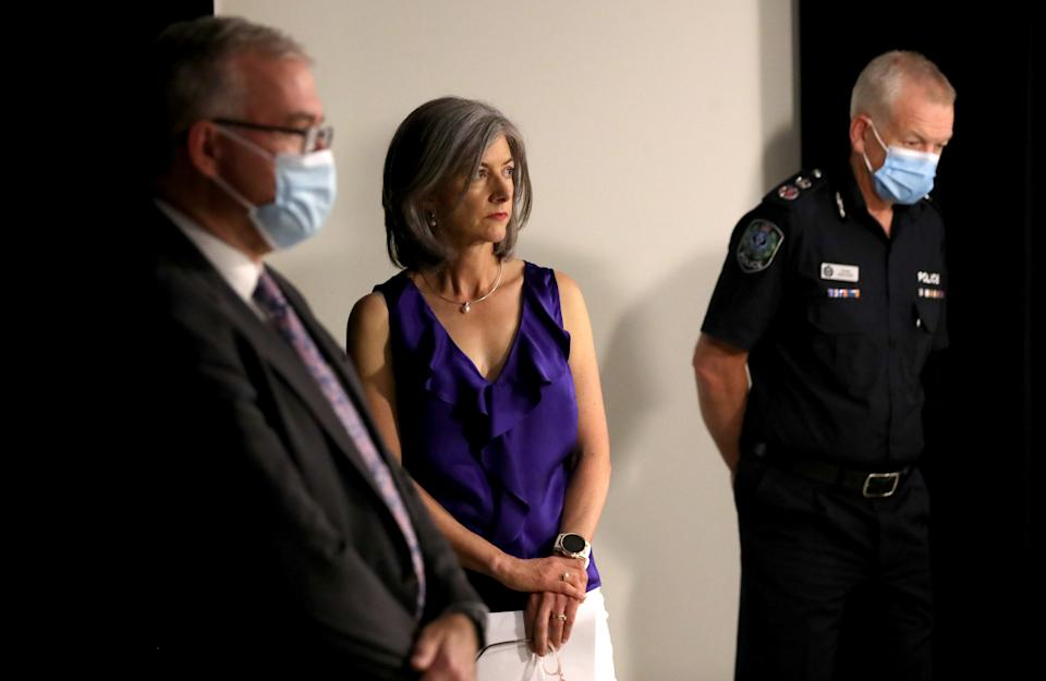 SA Health Minister Stephen Wade, Nicola Spurrier and SA Police Commissioner Grant Stevens.