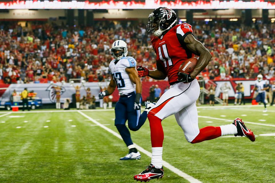 Julio Jones is running with the Titans for real now.  (Photo by Kevin C. Cox/Getty Images)