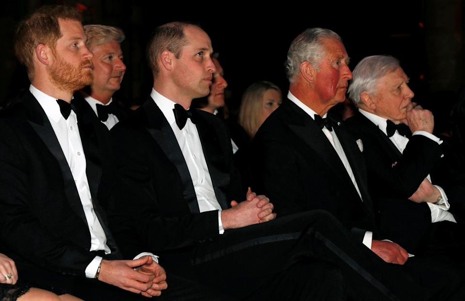 Britain's Prince Harry, Duke of Sussex (L), Britain's Prince William, Duke of Cambridge (3rd L), Britain's Prince Charles, Prince of Wales (2nd R) and British naturalist, documentary maker and broadcaster David Attenborough (R) take their seats for the Global Premiere of 'Our Planet' in London on April 4, 2019. (Photo by John SIBLEY / POOL / AFP)        (Photo credit should read JOHN SIBLEY/AFP/Getty Images)