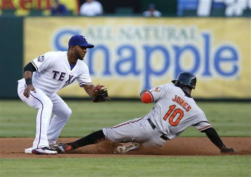 Baltimore Orioles' Adam Jones (10) safely steals second base ahead of the throw to Texas Rangers shortstop Elvis Andrus in the first inning of a baseball game, Monday, Aug. 20, 2012, in Arlington, Texas. (AP Photo/Jim Cowsert)