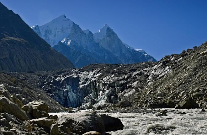 Gomukh, terminus of the Gangotri glacier. The Bhagirathi peaks rise in the background.
