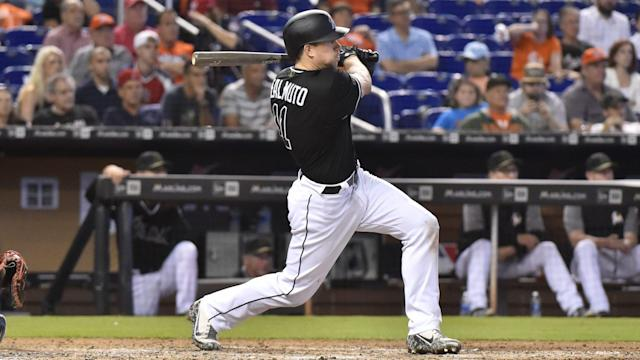 "<a class=""link rapid-noclick-resp"" href=""/mlb/players/9718/"" data-ylk=""slk:J.T. Realmuto"">J.T. Realmuto</a> will be in trade discussions all summer (AP)"