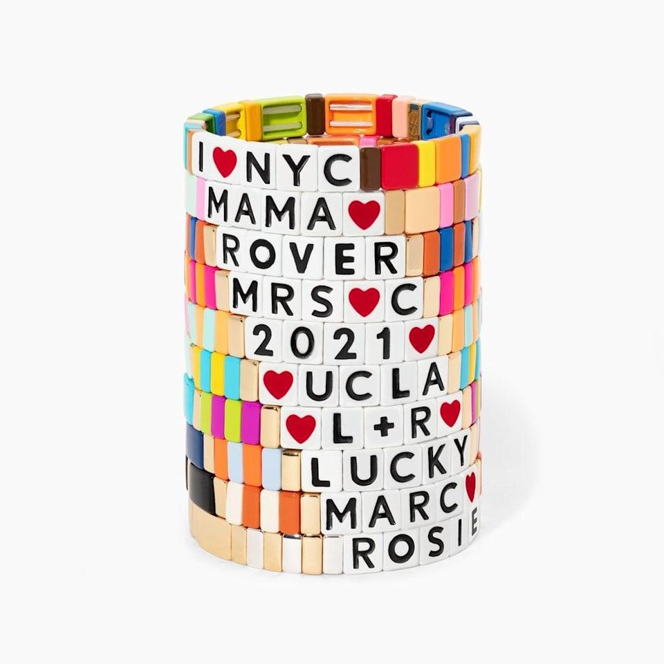 <p>Add a pop of color to your life with this fun <span>Roxanne Assoulin Just Say It Custom Bracelet</span> ($150).</p>