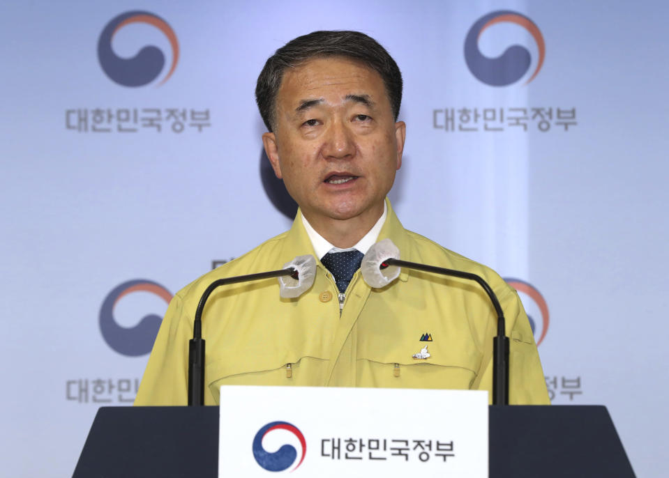 South Korean Health Minister Park Neung-hoo speaks during a press conference at the government complex in Seoul, South Korea, Sunday, Nov. 22, 2020. South Korea says it will impose stricter social distancing rules in the greater Seoul area to fight a coronavirus resurgence, as the country registered more than 300 new cases for the fifth straight day. (Baek Seung-ryul/Yonhap via AP)