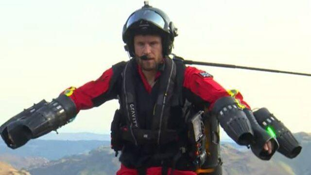 Richard Browning trying out the jet suit at Lake District