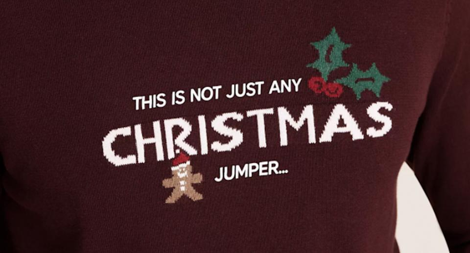 M&S have created a witty slogan Christmas jumper for 2020. (Marks and Spencer)