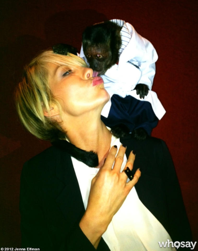 "Jenna Elfman did more than just monkey around with this particular marsupial, she even shared a smooch with the furry actress in New York on Monday and then posted evidence of it on <a target=""_blank"" href=""http://www.whosay.com/JennaElfman"">her WhoSay page</a>. Jenna was in the Big Apple promoting her new comedy ""1600 Penn,"" and turns out Crystal the monkey (""The Hangover Part II"") is also starring in a new fall show called, fittingly, ""Animal Practice."""