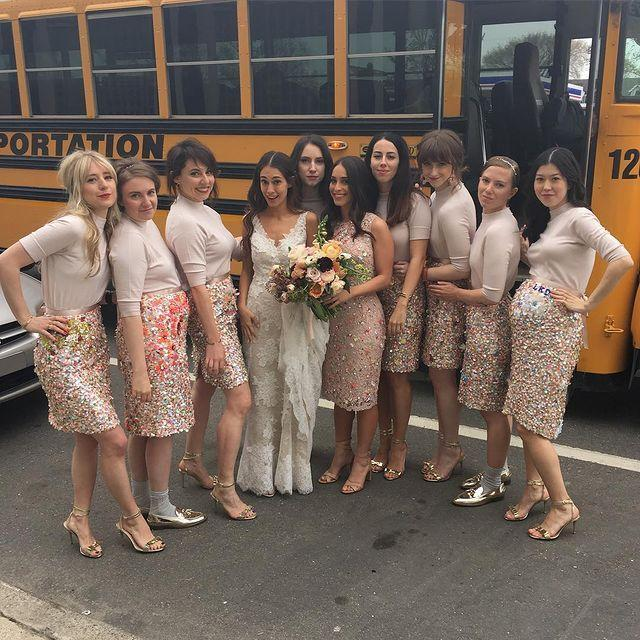 """<p>Lena Dunham played a part in her friend Audrey Gelman's wedding—and she gave an <a href=""""https://www.marthastewartweddings.com/600782/lena-dunham-bridesmaid-wedding-speech-audrey-gelman"""" rel=""""nofollow noopener"""" target=""""_blank"""" data-ylk=""""slk:awesome speech, too"""" class=""""link rapid-noclick-resp"""">awesome speech, too</a>. The bridesmaids wore mismatched dresses and even got a little DIY with the skirts, as each woman was able to customize it. (Adding that idea to my Pinterest board!)</p><p><a href=""""https://www.instagram.com/p/BE1oAnTi1ND/?utm_source=ig_embed"""" rel=""""nofollow noopener"""" target=""""_blank"""" data-ylk=""""slk:See the original post on Instagram"""" class=""""link rapid-noclick-resp"""">See the original post on Instagram</a></p>"""