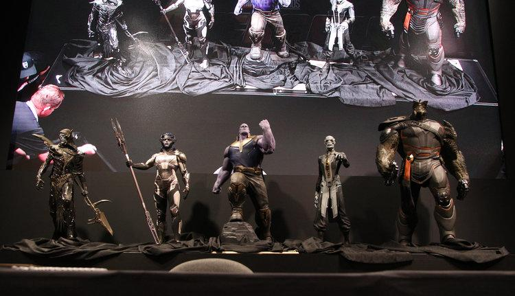 "<p>Instead, Brolin lifted the cloth<a rel=""nofollow"" href=""https://www.yahoo.com/movies/1474041-043124704.html""> to reveal the Black Order</a>, a group of Thanos's goons in the comics. The maquettes, used as models for the VFX team, included from left: Corvus Glaive, Proxima Midnight, Thanos, Ebony Maw, Black Dwarf. (Disney/Image Group LA) </p>"