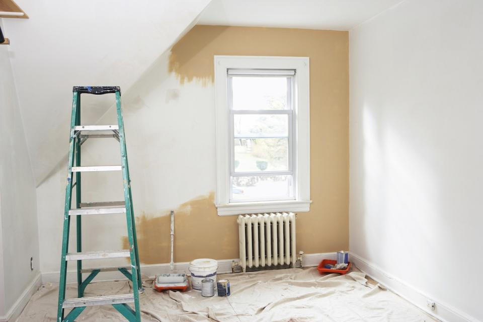 room under renovation, being painted