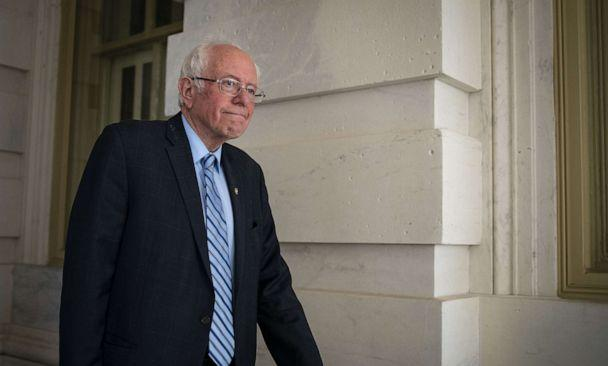 PHOTO: Senator Bernie Sanders exits the Capitol after a vote in Washington, March 18, 2020. (Al Drago/Bloomberg via Getty Images, FILE)