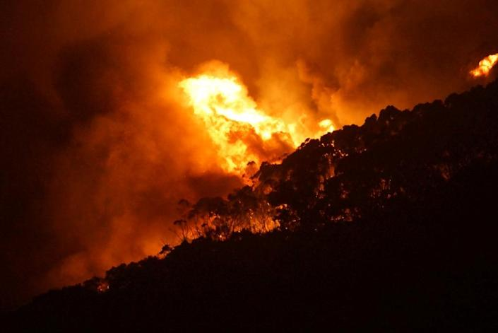 Wildfires in Australia fanned by hot, dry conditions engulfed more than 100 homes outside Melbourne in early December 2015 (AFP Photo/Keith Pakenham)