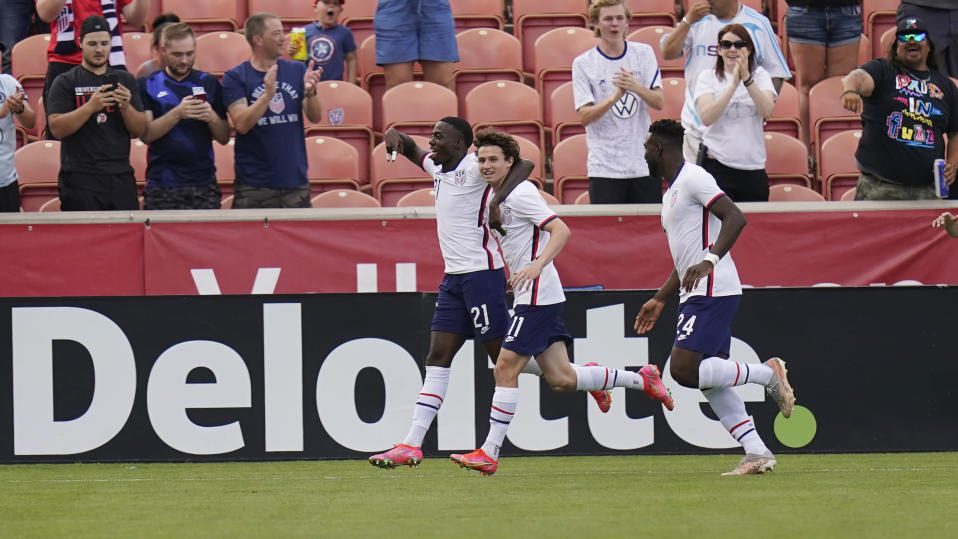 United State forward Brenden Aaronson (11) celebrates his first half goal against Costa Rica during an international friendly soccer match Wednesday, June 9, 2021, in Sandy, Utah. (AP Photo/Rick Bowmer)