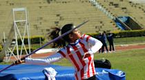 Leryn Franco, member of the Paraguayan Olympic javelin team and model, takes part in a practice ahead of the London 2012 Olympic Games, in Asuncion on July 19, 2012. Franco's beauty was a media sensation during the Beijing 2008 Olympic Games. (Norberto Duarte/AFP/Getty Images)