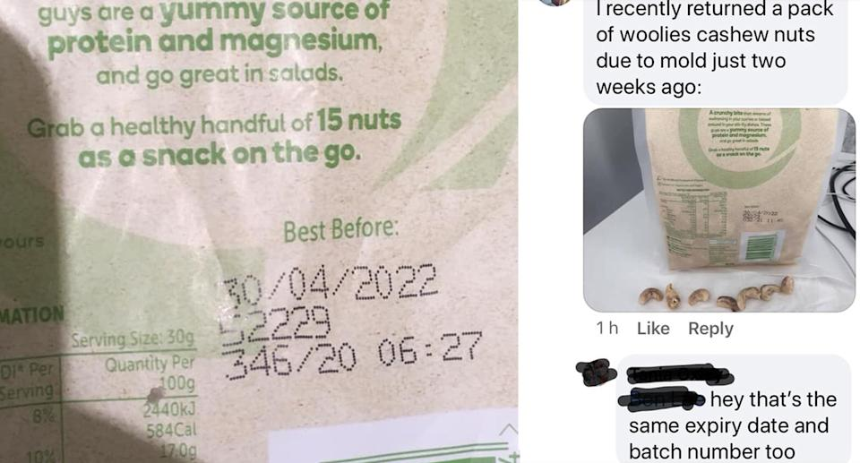 two customers found issues with their Woolworths Macro nuts