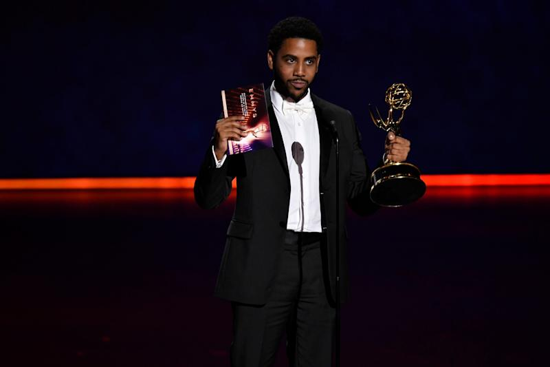 Jharrel Jerome gives his acceptance speech after winning an Emmy for his portrayal of Korey Wise in Netflix's 'When They See Us.'