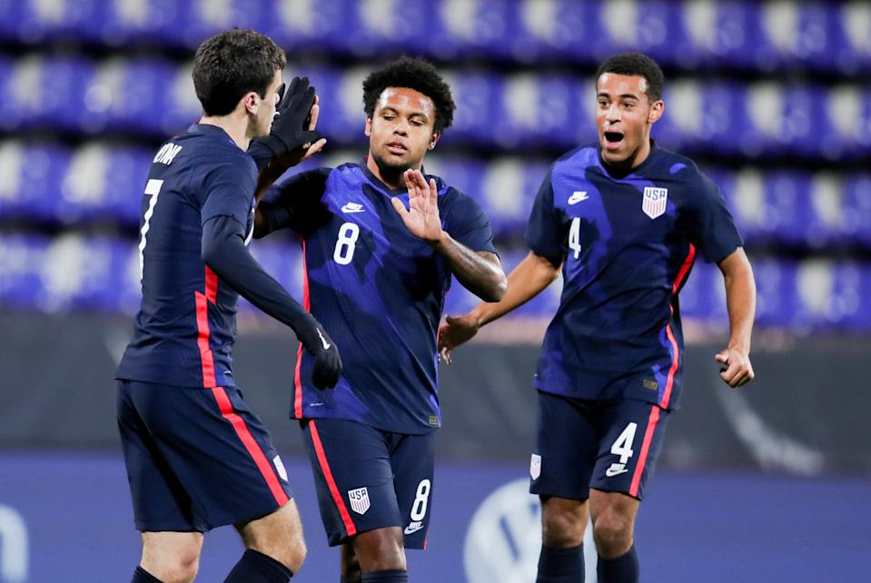 (Left to right) Gio Reyna, Weston McKennie and Tyler Adams are three of the young USMNT stars playing at mega-clubs where winning is a job requirement. (Photo by John Dorton/ISI Photos/Getty Images)