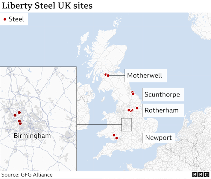 Map of UK showing position of Liberty Steel facilities