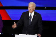 Democratic presidential candidate former Vice President Joe Biden speaks Tuesday, Jan. 14, 2020, during a Democratic presidential primary debate hosted by CNN and the Des Moines Register in Des Moines, Iowa. (AP Photo/Patrick Semansky)