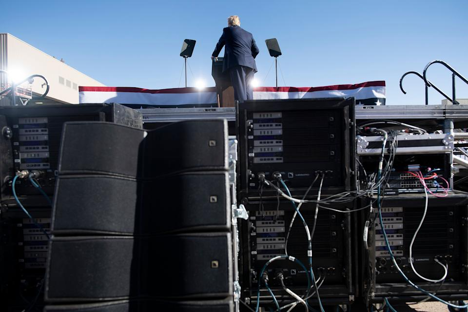 US President Donald Trump speaks during a Make America Great Again rally at Phoenix Goodyear Airport October 28, 2020, in Goodyear, Arizona. (Photo by Brendan Smialowski / AFP) (Photo by BRENDAN SMIALOWSKI/AFP via Getty Images)