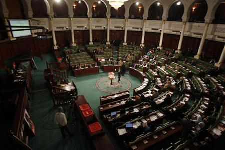 A general view shows Tunisia's Constituent Assembly during a vote over the composition of an election commission to oversee a vote later this year in Tunis