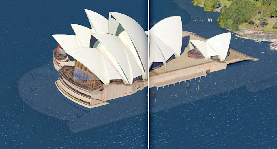 Sydney Opera House will face coastal inundation in the future unless measures are put in place to protect the building. Source: Climate Central
