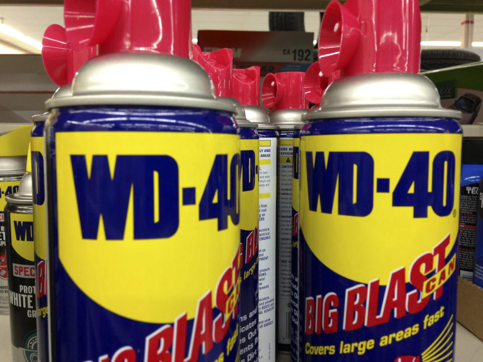 WD-40 is on display at a retail shop in San Diego, California, April 22, 2013.       REUTERS/Mike Blake  (UNITED STATES - Tags: BUSINESS)