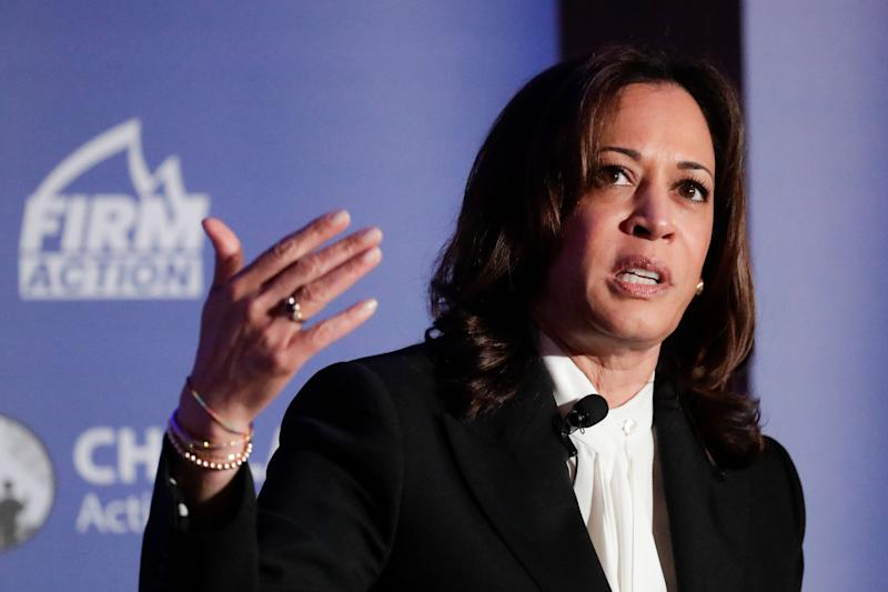 Sen. Kamala Harris, D-Calif., speaks during a campaign event at the Unity and Freedom Presidential Forum on May 31 in Pasadena, Calif. (Photo: Chris Carlson/AP)