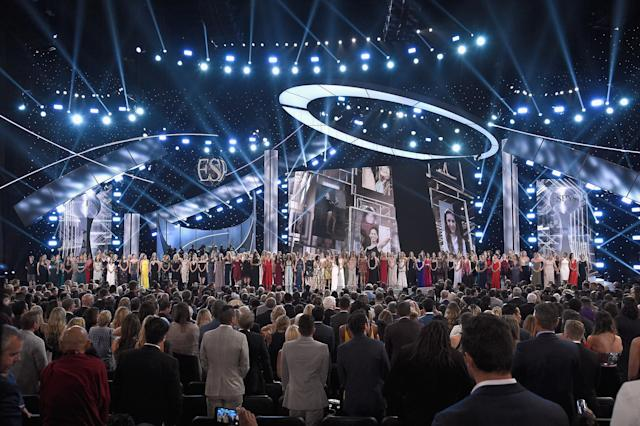 More than 100 survivors of Larry Nassar's abuse accepted the Arthur Ashe Courage Award on Wednesday night at the ESPYs.(Getty Images)