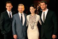 """SYDNEY, AUSTRALIA - APRIL 17:(L-R) Cast Tom Hiddleston,Kenneth Branagh,Jaimie Alexander and Chris Hemsworth arrive at the World Premiere of """"Thor"""" at Event Cinemas George Street on April 17, 2011 in Sydney, Australia. (Photo by Mike Flokis/WireImage)"""