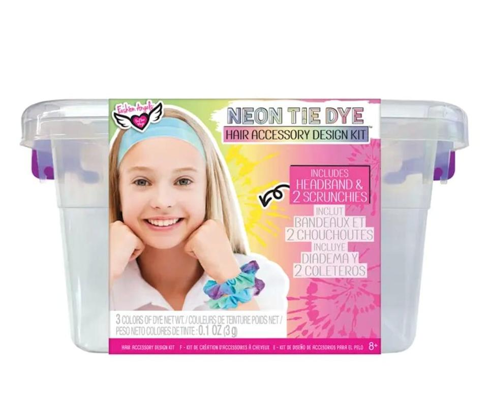 <p>They'll have fun updating their wardrobe with the <span>Neon Tie Dye Hair Accessory Design Kit </span> ($15).</p>