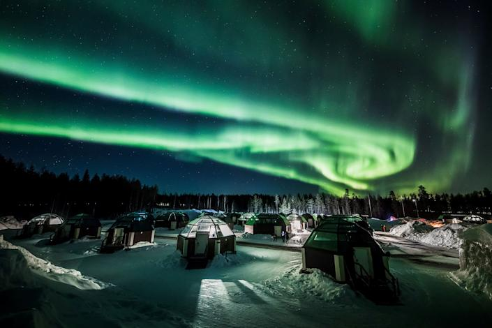 The Aurora Borealis (Northern Lights) is seen in the sky over Arctic Snowhotel in Rovaniemi, Finland February 28, 2019.
