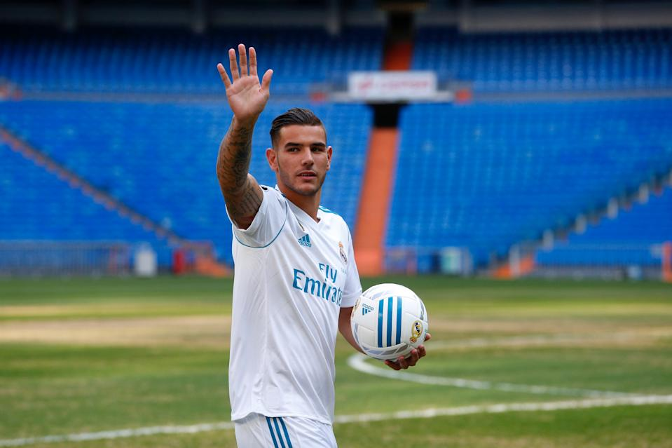 Real Madrid's new player Theo Hernandez waves during his presentation at the Santiago Bernabeu Stadium in Madrid, Spain July 10, 2017. REUTERS/Paul Hanna