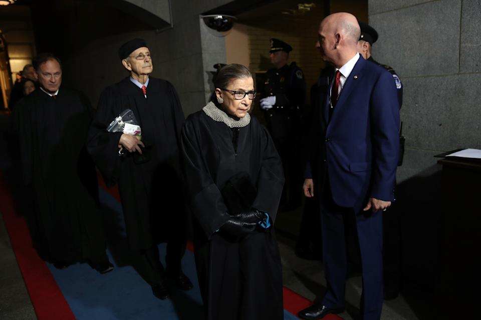 Left to right: Supreme Court Justices Samuel Alito, Stephen Breyer and Ruth Bader Ginsburg arrive at the Capitol, where Donald Trump was sworn in as the 45th president of the United States. (Photo: Win McNamee/AFP/Getty Images)