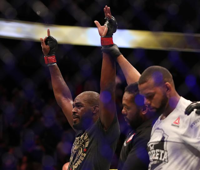 Jon Jones celebrates his win over Thiago Santos in their UFC light heavyweight championship fight during UFC 239 at T-Mobile Arena on July 6, 2019 in Las Vegas. (Getty Images)