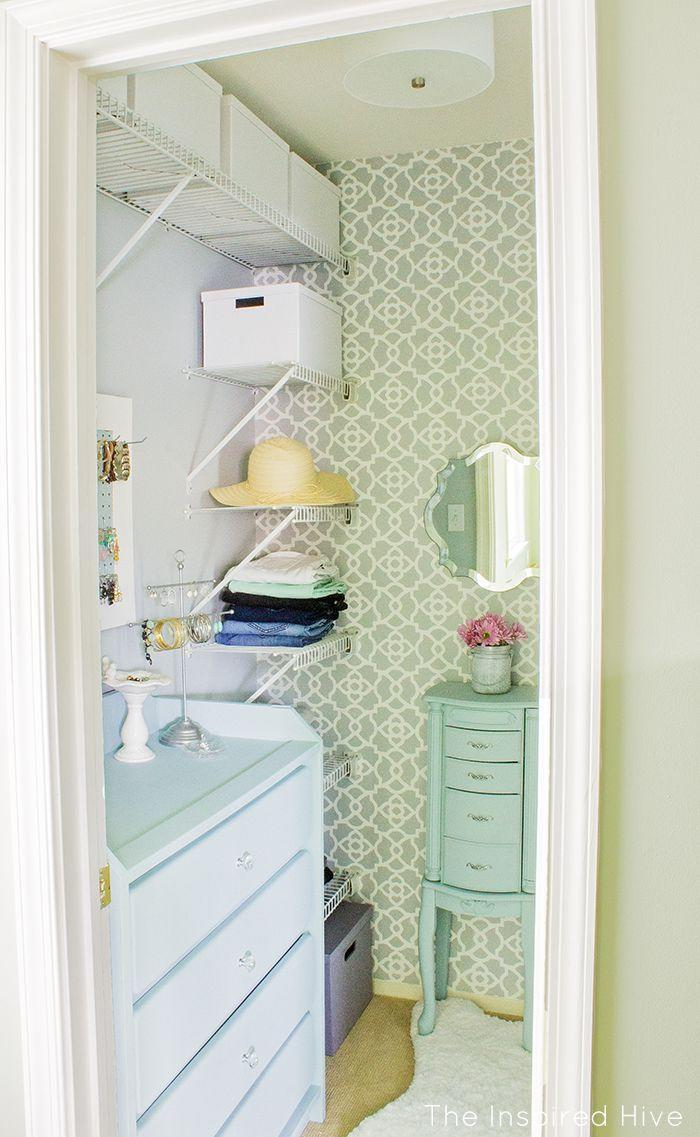 "<p>Have a little space in your closet to spare? Move furniture, like a jewelry cabinet or a bench, inside. This not only makes your closet more functional, but also conserves space in your bedroom. </p><p>See more at <a href=""http://www.theinspiredhive.com/2016/07/how-to-give-your-walk-in-closet-makeover.html"" rel=""nofollow noopener"" target=""_blank"" data-ylk=""slk:The Inspired Hive"" class=""link rapid-noclick-resp"">The Inspired Hive</a>. </p>"