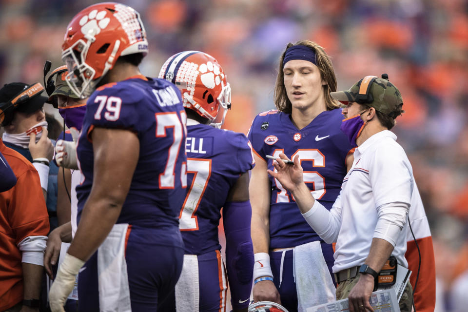 Clemson quarterback Trevor Lawrence (16) during the first half of an NCAA college football game Saturday, Nov. 28, 2020, in Clemson, S.C. (Ken Ruinard/The Independent-Mail via AP, Pool)