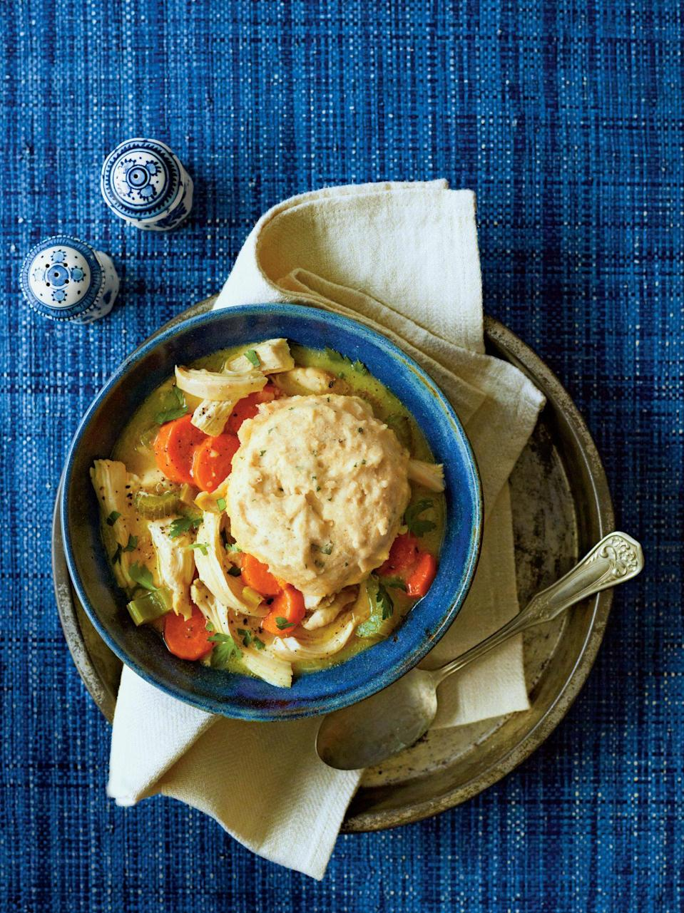"""<p><strong>Recipe: <a href=""""https://www.southernliving.com/syndication/chicken-cornbread-dumplings"""" rel=""""nofollow noopener"""" target=""""_blank"""" data-ylk=""""slk:Chicken and Cornbread Dumplings"""" class=""""link rapid-noclick-resp"""">Chicken and Cornbread Dumplings</a></strong></p> <p>All of the cooking for this recipe (yes, even the dumplings) will happen all in one pot with the help of your slow cooker. </p>"""