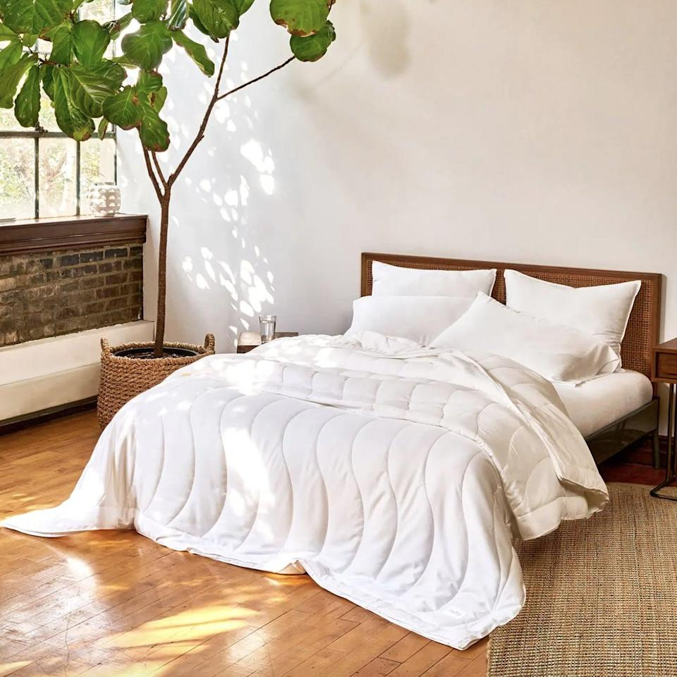 """<p>""""I'm a fan of the brand's popular <span>Hemp Sheets</span>, but the <span>Buffy Breeze Comforter</span> ($179-$259) topped it off. After two nights sleeping underneath it, I already felt an improvement. It's almost like my body was """"adjusting"""" to the cool, new atmosphere underneath the blanket. My silly future husband even joked about just how nice it was under the Breeze: """"Ooh, I'm freezing!"""" he'd laugh each night, pretending to shiver as we hopped into bed. But this comforter really was lowering my body heat during the night, because I was no longer waking up with sweat beads trickling down the sides of my face."""" - Sarah Wasilak, editor, Fashion</p> <p>If you want to read more, here is the <a href=""""https://www.popsugar.com/home/buffy-breeze-comforter-review-47680570"""" class=""""link rapid-noclick-resp"""" rel=""""nofollow noopener"""" target=""""_blank"""" data-ylk=""""slk:Buffy Breeze Comforter"""">Buffy Breeze Comforter</a> review.</p>"""