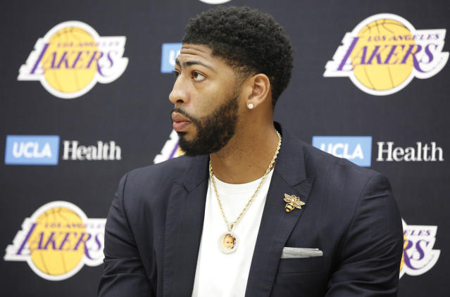 "<a class=""link rapid-noclick-resp"" href=""/nba/players/5007/"" data-ylk=""slk:Anthony Davis"">Anthony Davis</a> is still scared of the dark, and has his sights set on the one thing missing from his basketball resume: an NBA title. (AP/Damian Dovarganes)"