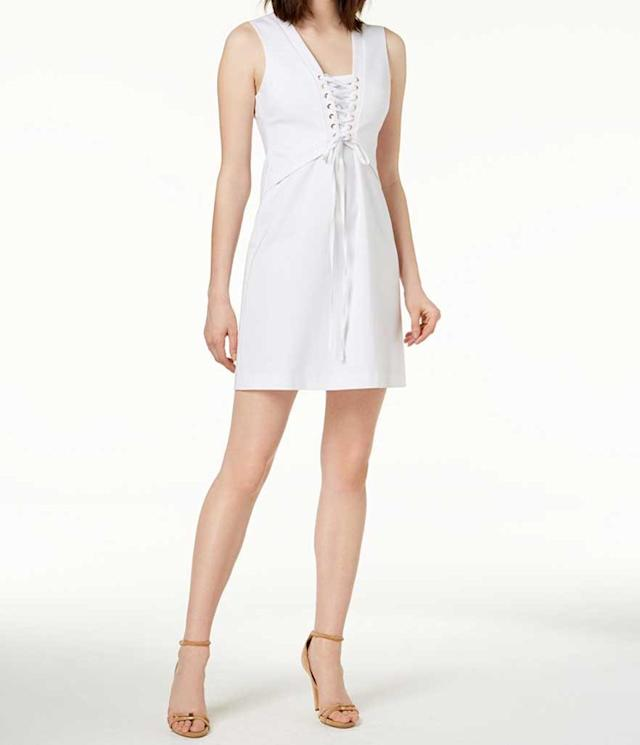 White lace-up summer dress. (Photo: Calvin Klein)