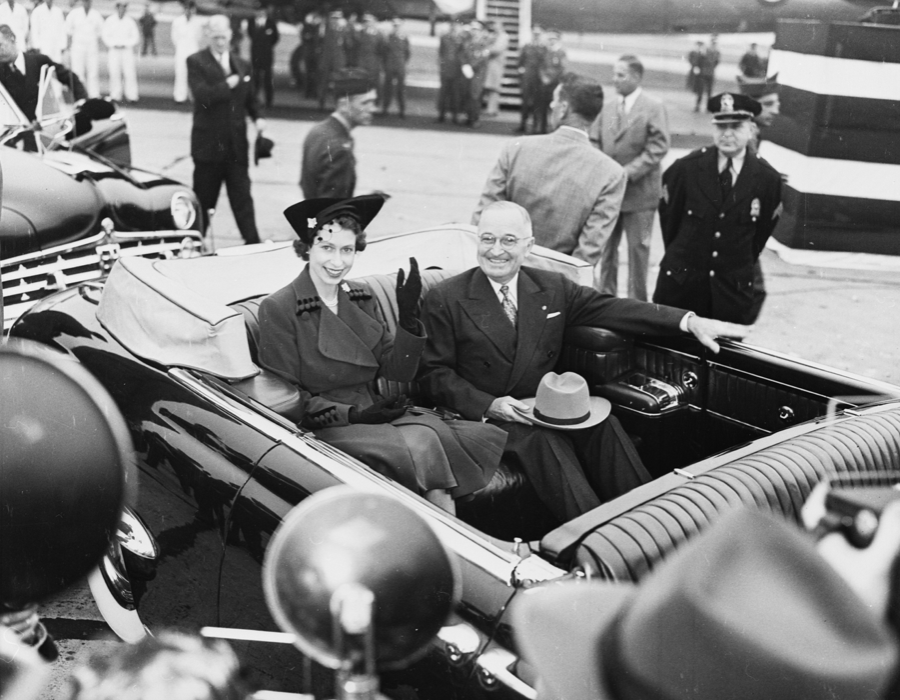 The then-Princess Elizabeth meets with President Harry S Truman in a limousine at Washington National Airport in 1951 - three months before she became Queen. (Wikipedia)